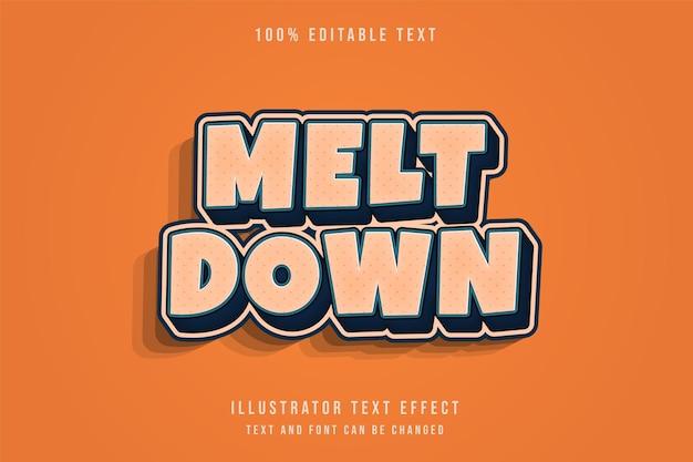 Meltdown, effet de texte modifiable 3d dégradé crème style de texte comique ombre bleue