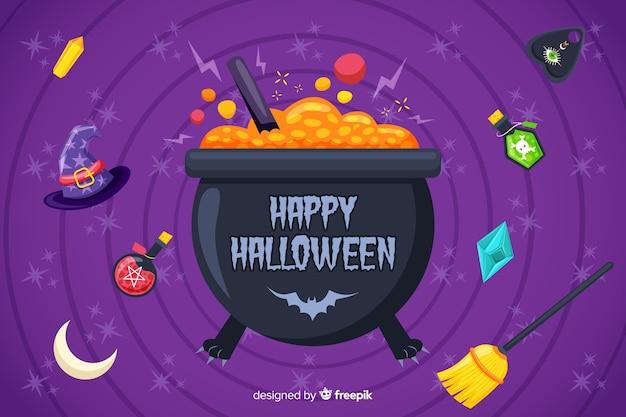 Melting pot avec des bonbons fond halloween
