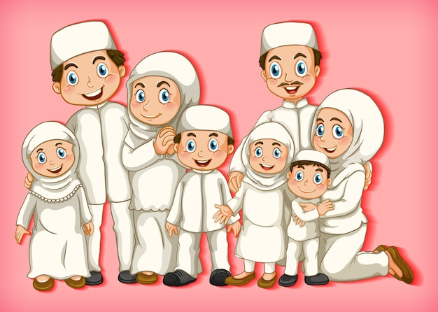 Membre de la famille musulmane sur fond dégradé de couleur de personnage de dessin animé
