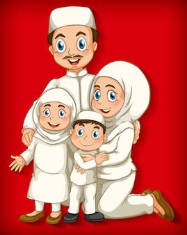 Membre de la famille musulmane sur le personnage de dessin animé