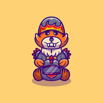 Membre d'un gang de motards mignon renard