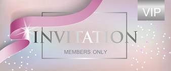 Membres d'invitation VIP uniquement lettrage avec ruban