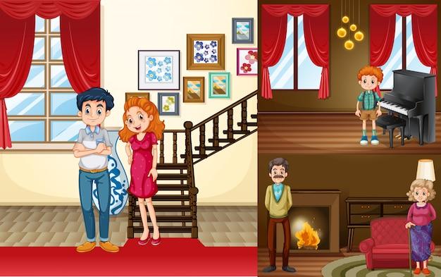 Membres de la famille dans différentes pièces de la maison