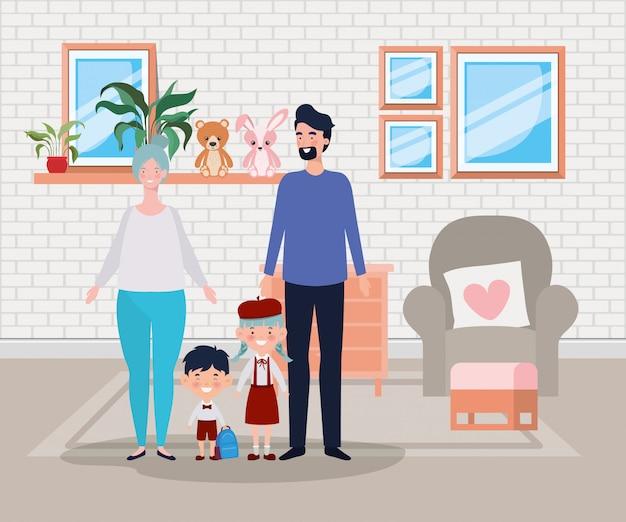 Membres de la famille dans la scène de la salle de séjour