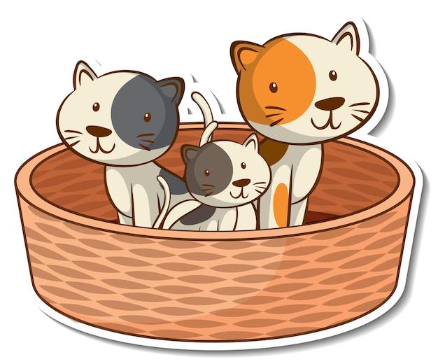 Membres de la famille du chat dans l'autocollant du panier