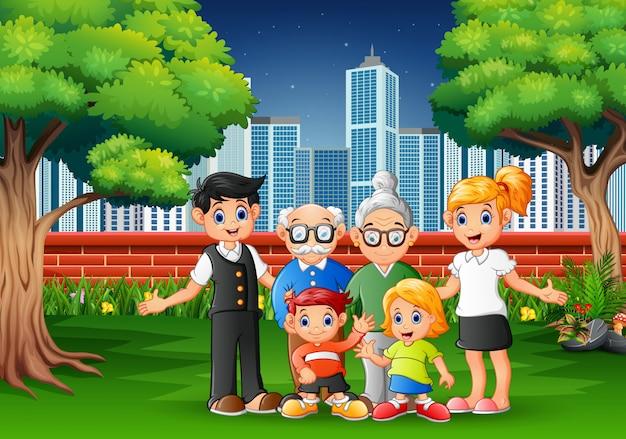 Membres de la famille du dessin animé s'amuser dans le parc de la ville