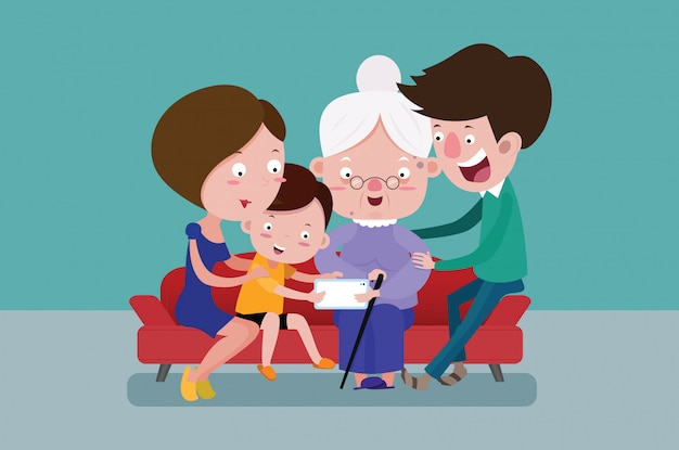 Membres de la famille et grand-mère de vieilles femmes en ligne ensemble.