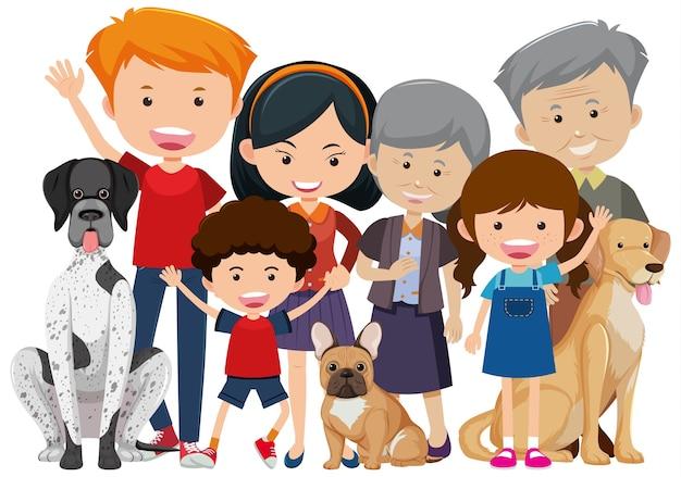 Les membres de la famille avec leur chien sur fond blanc