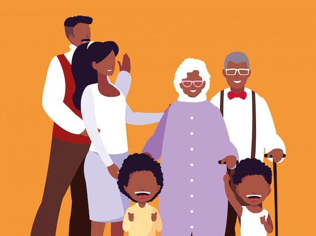 Membres de la famille mignonne afro avatar caractère