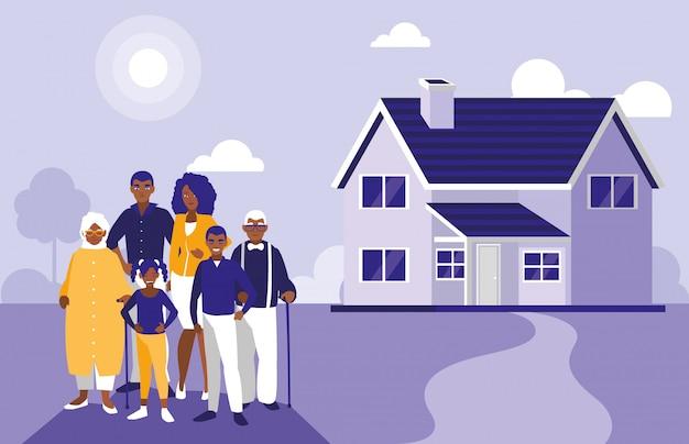 Membres de la famille noire avec maison