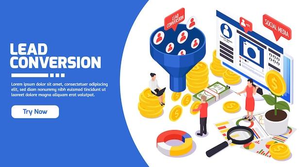 Membres de la promotion des ventes des médias sociaux smm attirant la stratégie de conversation des idées rentables composition de page web isométrique