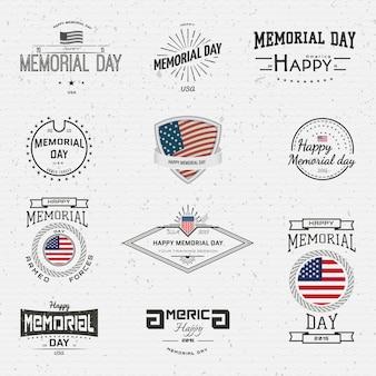 Memorial day, badges logos et étiquettes
