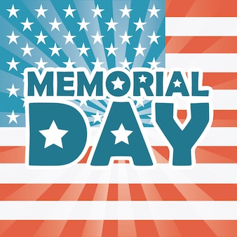 Memorial day design over drapeau américain fond illustration vectorielle