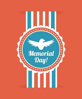 Memorial day design over illustration vectorielle fond rouge