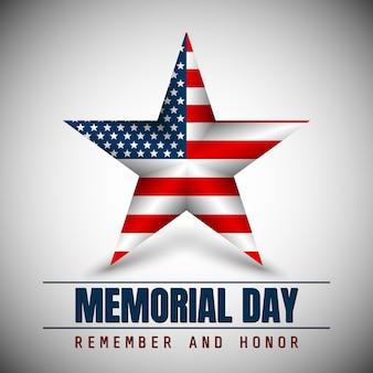Memorial day avec étoile aux couleurs du drapeau national.