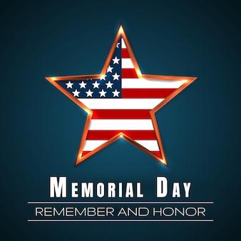 Memorial Day Avec étoile Aux Couleurs Du Drapeau National. Vecteur Premium