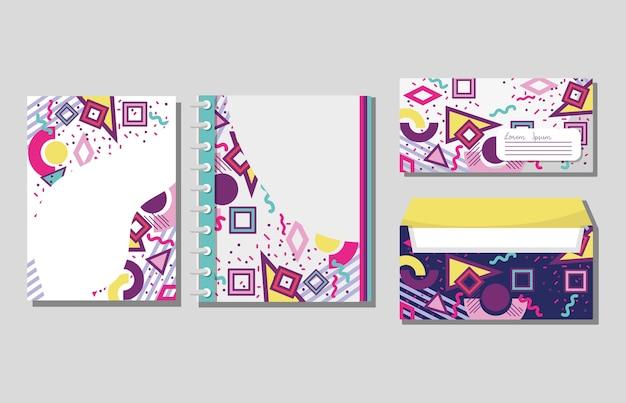 Memphis cahiers et enveloppes simulent