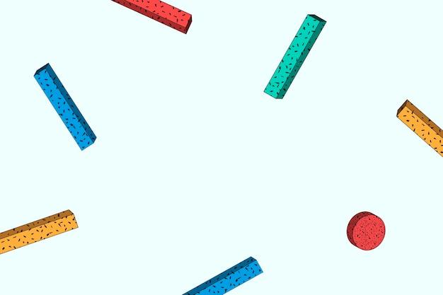 Memphis coloré à motifs sur fond bleu clair vecteur