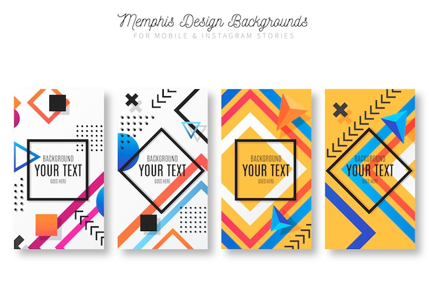 Memphis design backgrounds pour mobile & instagram stories