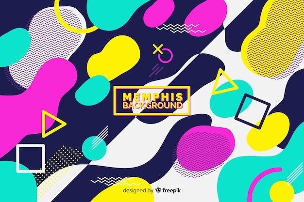 Memphis fond avec des formes colorées
