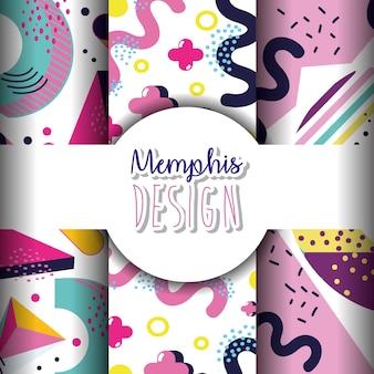 Memphis modèles et arrière-plans design coloré