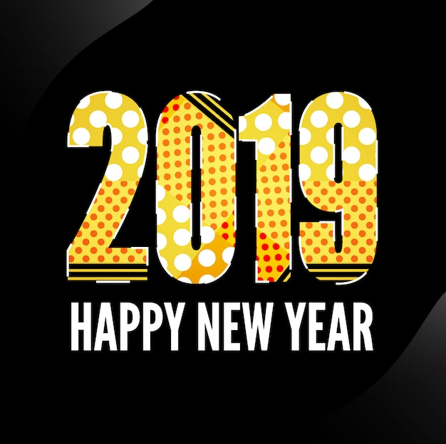 Memphis nouvel an 2019 design avec fond noir