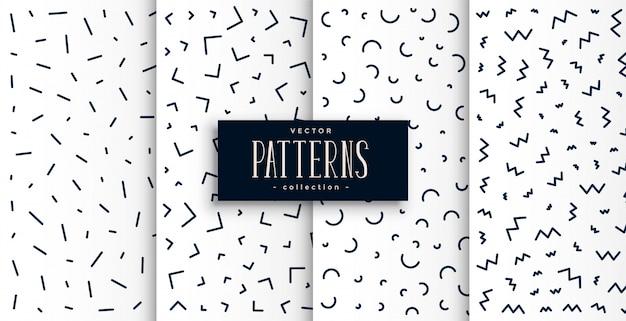 Memphis pattern set en couleur noir et blanc