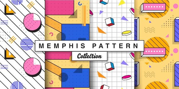 Memphis seamless pattern set