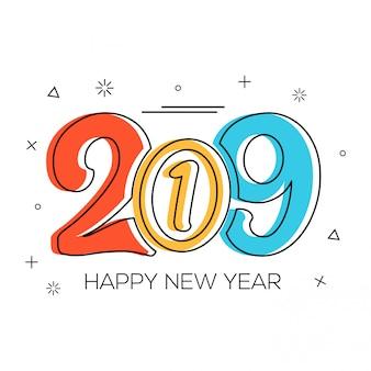 Memphis style bonne année 2019 coloré