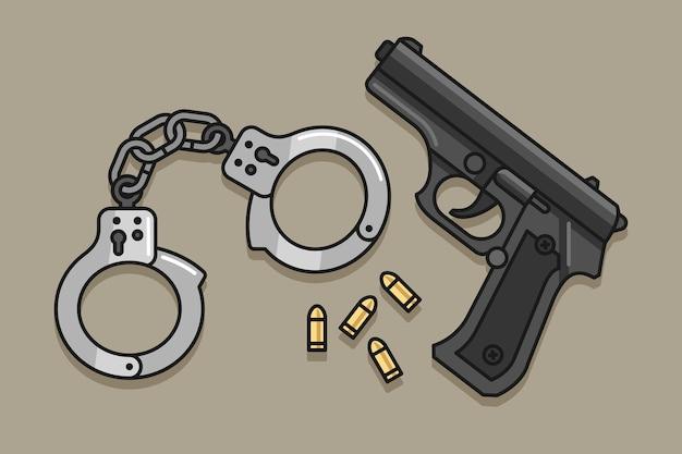 Menottes et illustration de dessin animé de pistolet