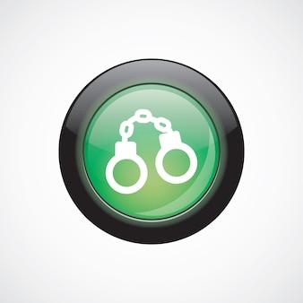 Menottes verre signe icône vert brillant bouton. bouton du site web de l'interface utilisateur
