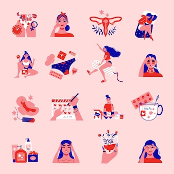 Menstruation pms femme couleur sertie d'icônes de personnages féminins isolés de l'utérus de produits sanitaires et calendrier