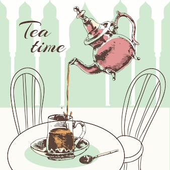 Menthe de verre ornée marocaine laisse thé avec de l'eau bouillante en illustration vectorielle de théière argent