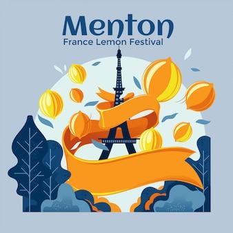 Menton france lemon festival vector premium