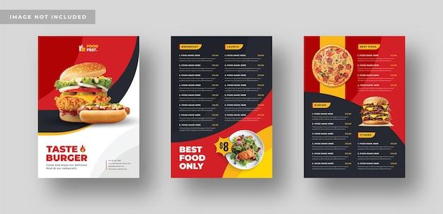 Menu alimentaire ou affiche de flyer pour restaurant ou médias sociaux