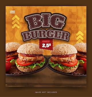 Menu alimentaire burger instagram et publication et bannière facebook