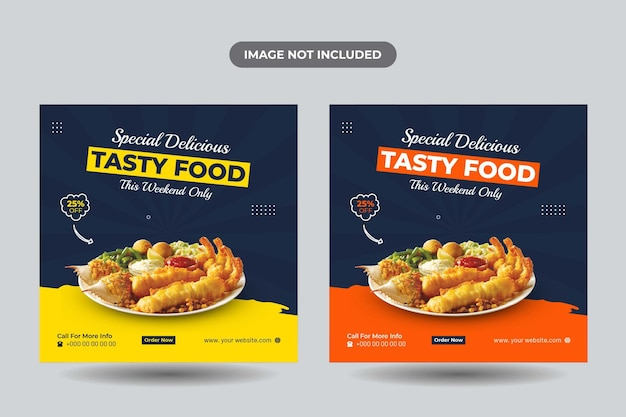 Menu alimentaire et conception de publication sur les réseaux sociaux du restaurant