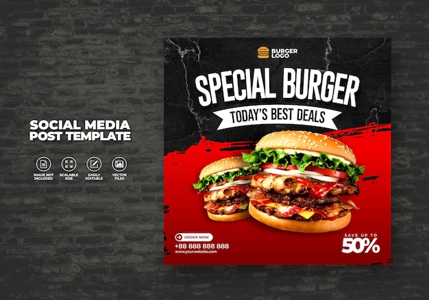 Menu alimentaire restaurant burger pour modèle de poste sur les médias sociaux