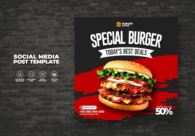 Menu alimentaire restaurant spécial burger pour modèle de poste sur les médias sociaux
