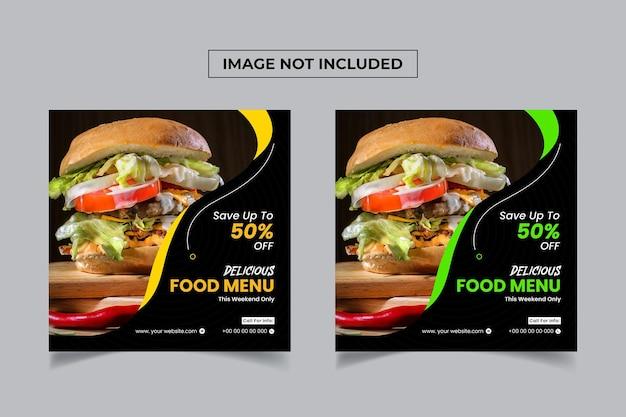 Menu alimentaire spécial publication sur les réseaux sociaux