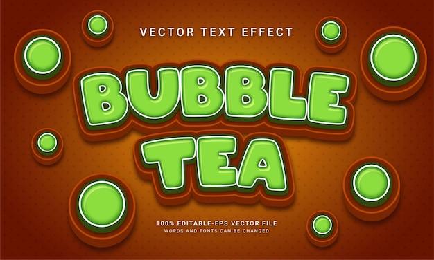 Menu alimentaire sur le thème de l'effet de texte modifiable du thé à bulles