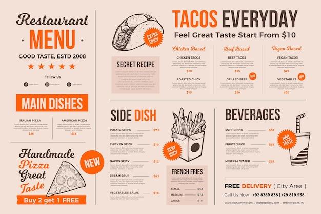 Menu alimentaire à usage numérique avec illustrations