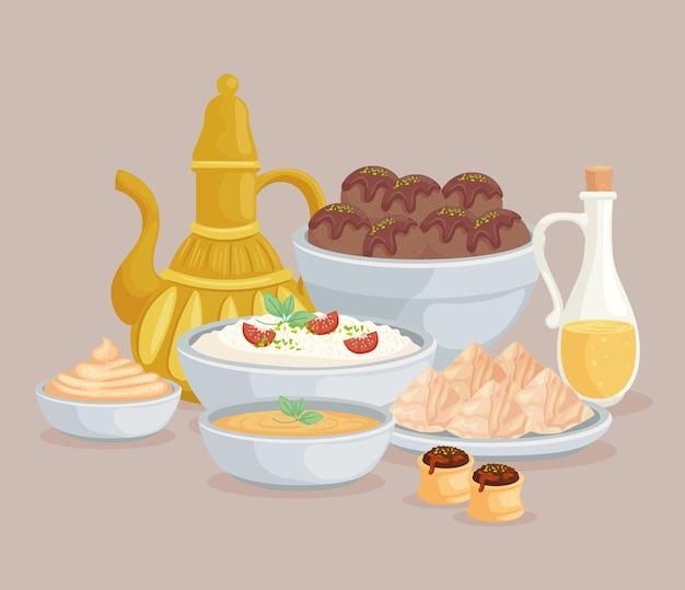 Menu des aliments arabes