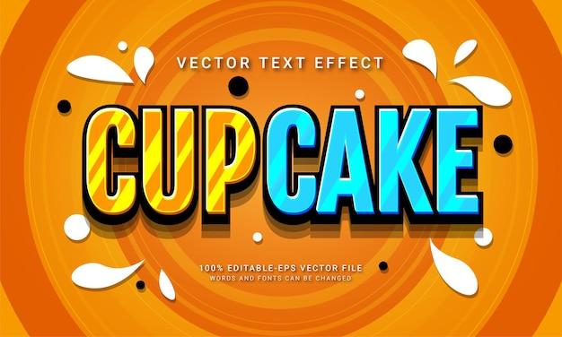 Menu d'aliments sucrés sur le thème de l'effet de style de texte modifiable cup cake