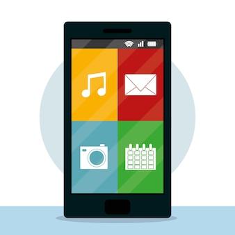 Menu des applications mobiles smartphone