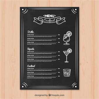 Menu de barre de cocktail dans le style de tableau noir