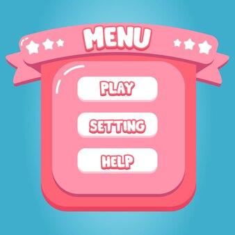 Menu de bonbons roses conception d'interface d'application de jeu mobile dessin animé doux vecteur premium