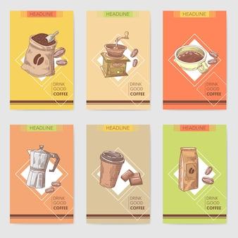 Menu de brochure de cartes dessinées à la main de café avec des grains de café