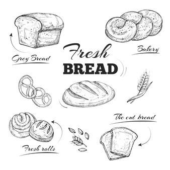 Menu café boulangerie dessiné à la main. modèle