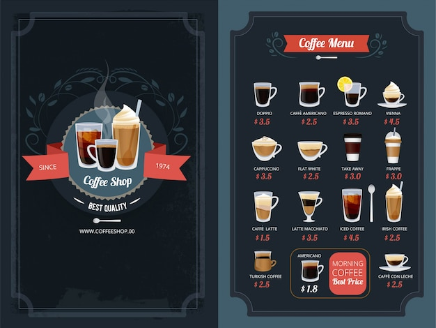 Menu de café avec différents types. cappuccino, macchiato, latte et autres